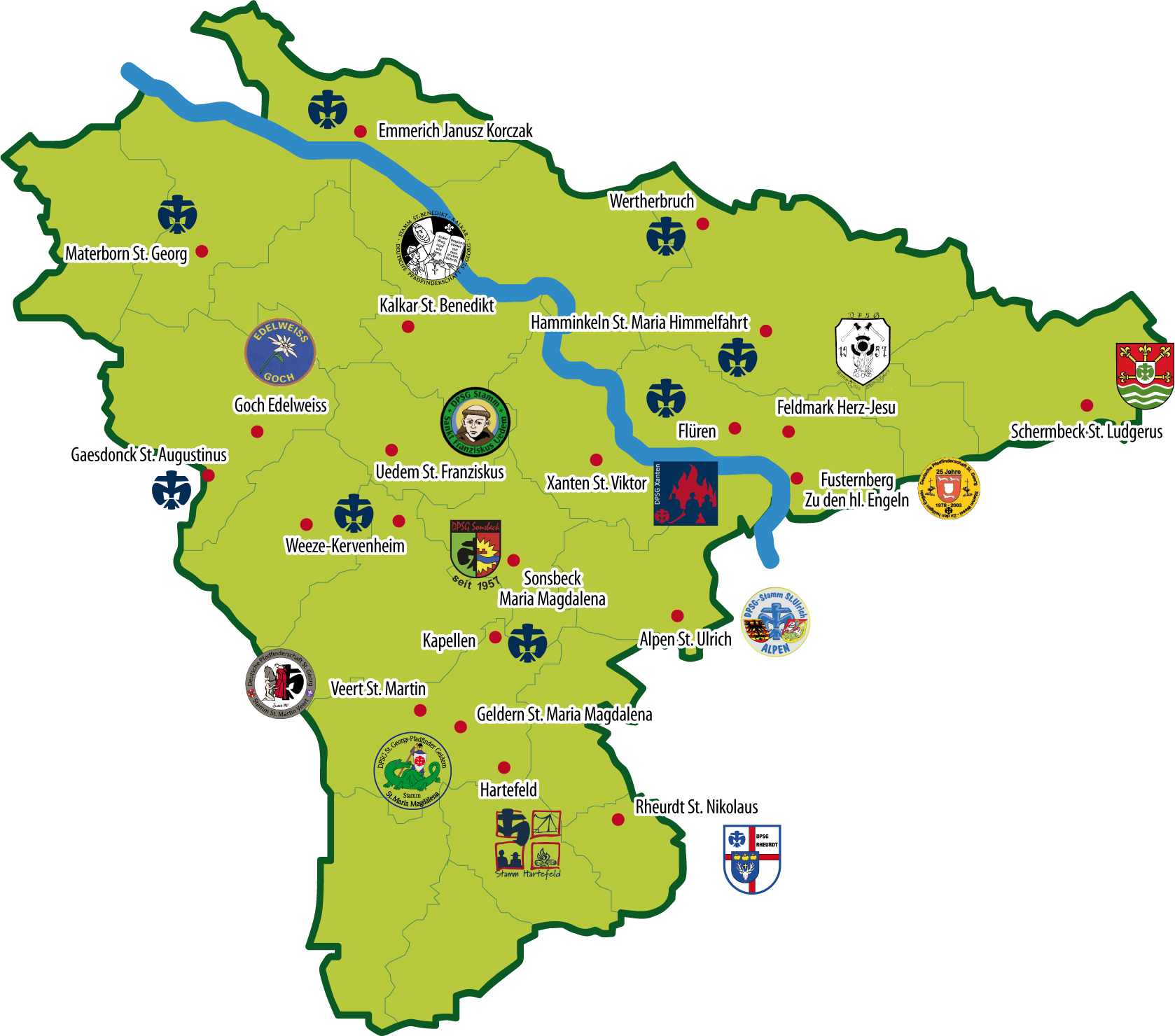 Karte Niederrhein.Dpsg Bezirk Niederrhein Nord